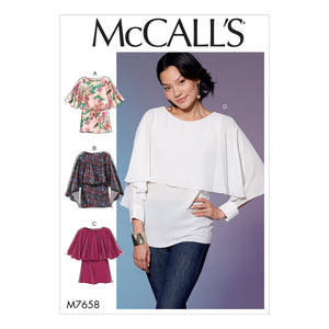 McCall's M7658OSZ Misses' Tops with Overlay All Sizes in One Envelope