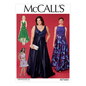 McCall's M7684BB Misses'/Women's Sleeveless Dresses with Neckline and Hem Variations 8-10-12-14-16