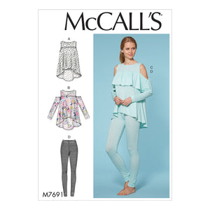 McCall's M7691OSZ Misses' Yoke Tops and Pants XS-S-M-L-XL