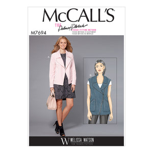 McCall's M7694E50 Misses' Moto-Style Jacket and Vest 14-16-18-20-22