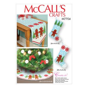 McCall's M7704OSZ Stockings, Runner, and Tree Skirt Holiday Decorations One Size Only