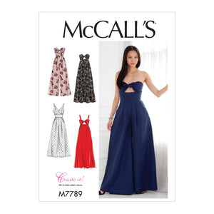 McCall's M7789A50 Misses' Dresses and Jumpsuits 6-8-10-12-14