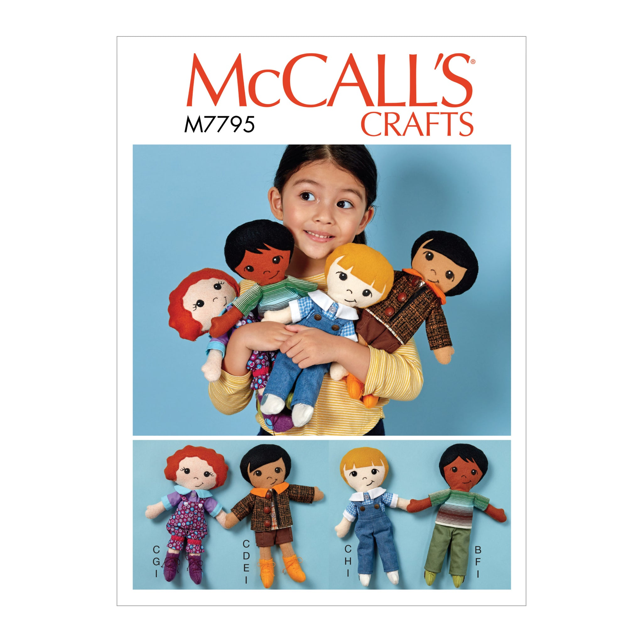 McCall's M7795OSZ Doll, Clothes and Shoes All Sizes in One Envelope