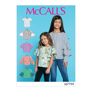 McCall's M7799CCE Children's/Girls' Tops 3-4-5-6