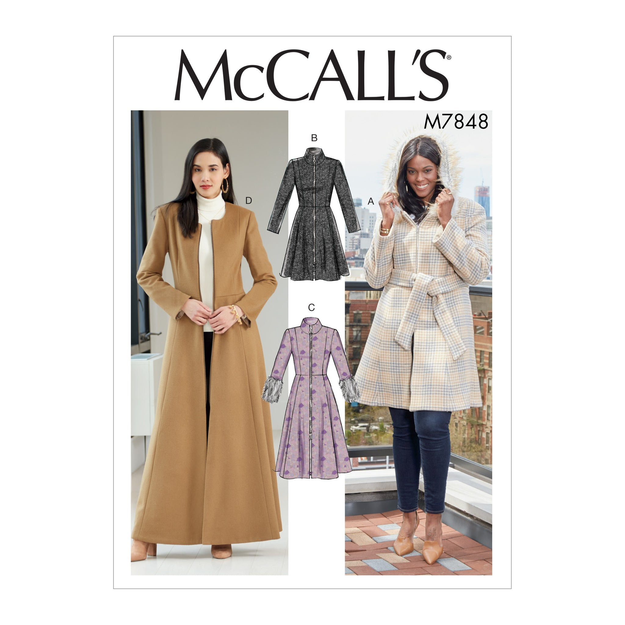 McCall's M7848RR0 Misses'/Miss Petite and Women's/Women Petite Coats and belt 18W-20W-22W-24W