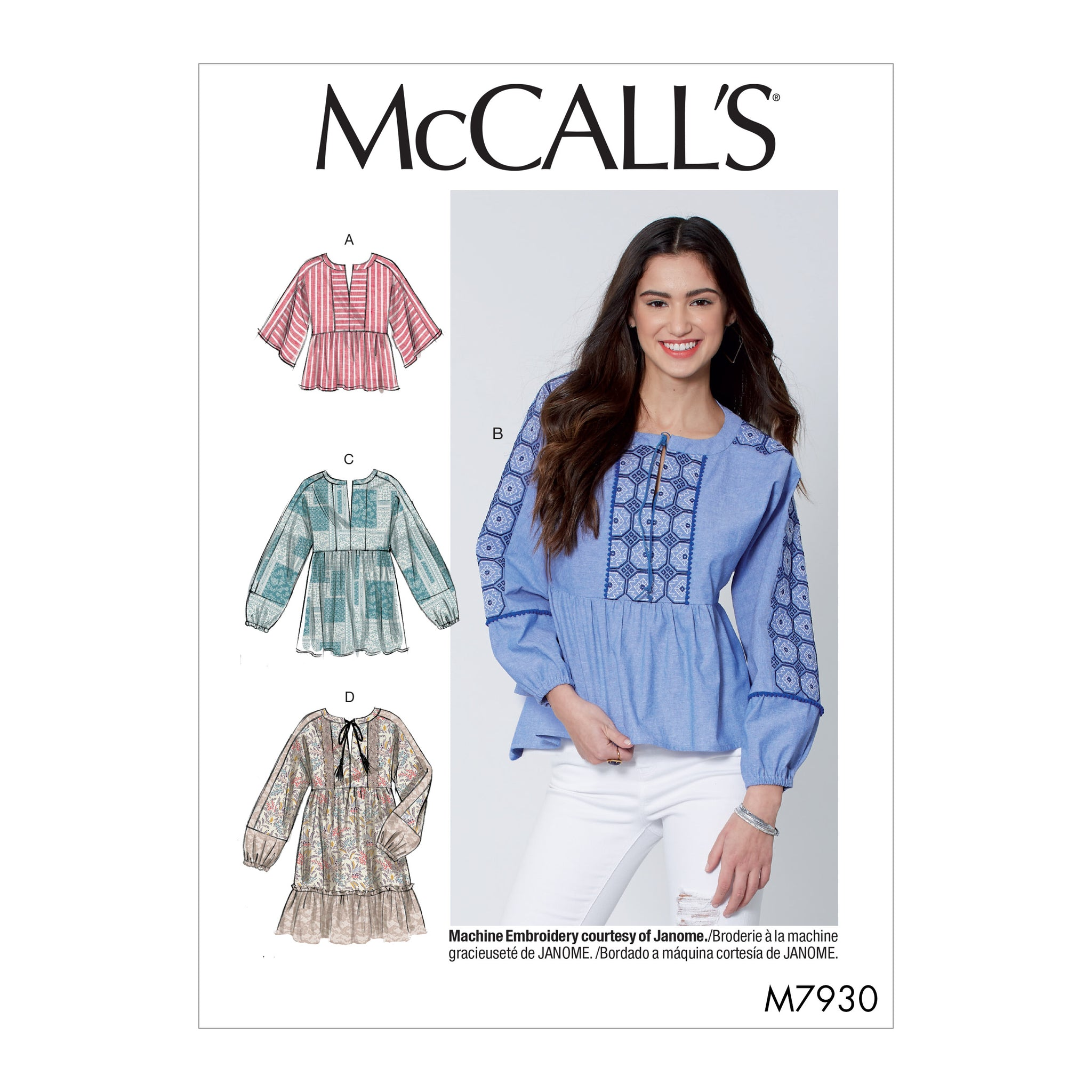 McCall's M7930Z Misses' Tops and Tunics L-XL