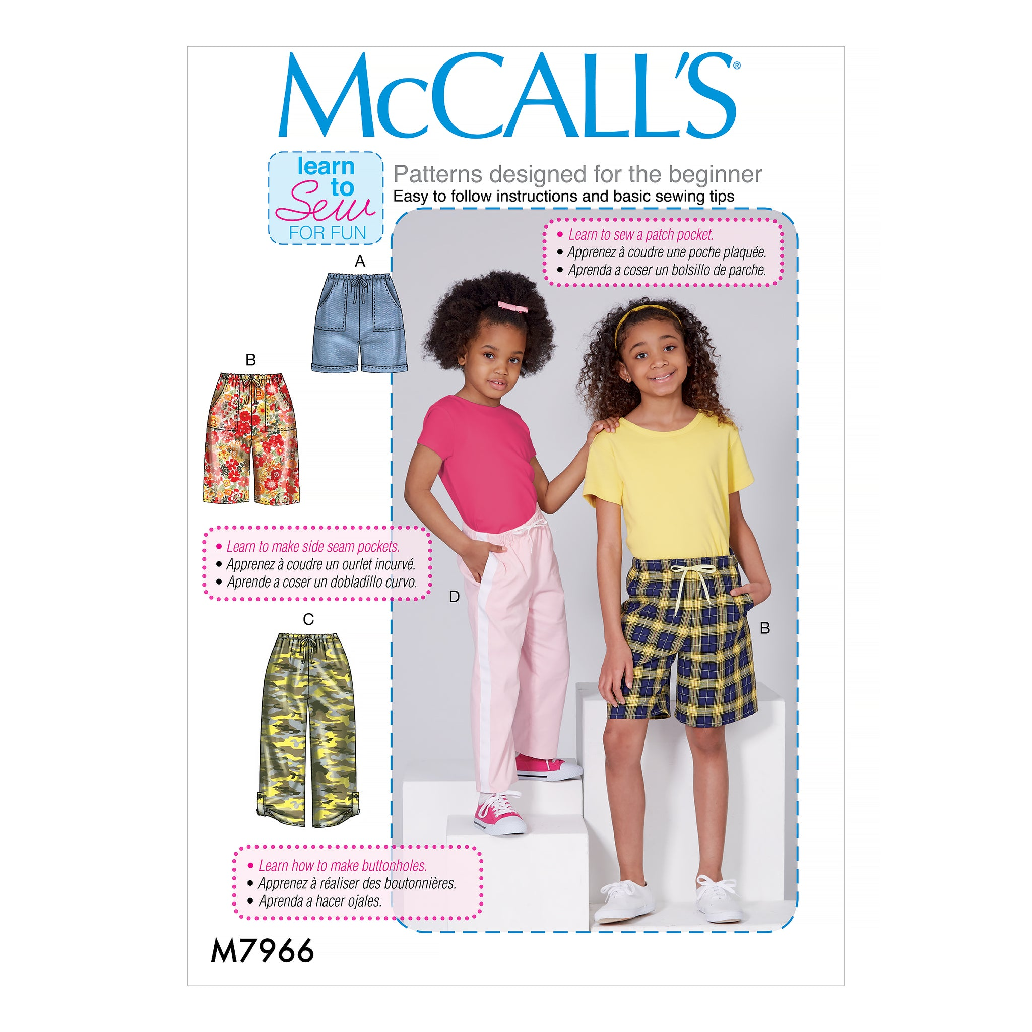 McCall's M7966CHJ Children's and Girls' Shorts and Pants 7-8-10-12-14