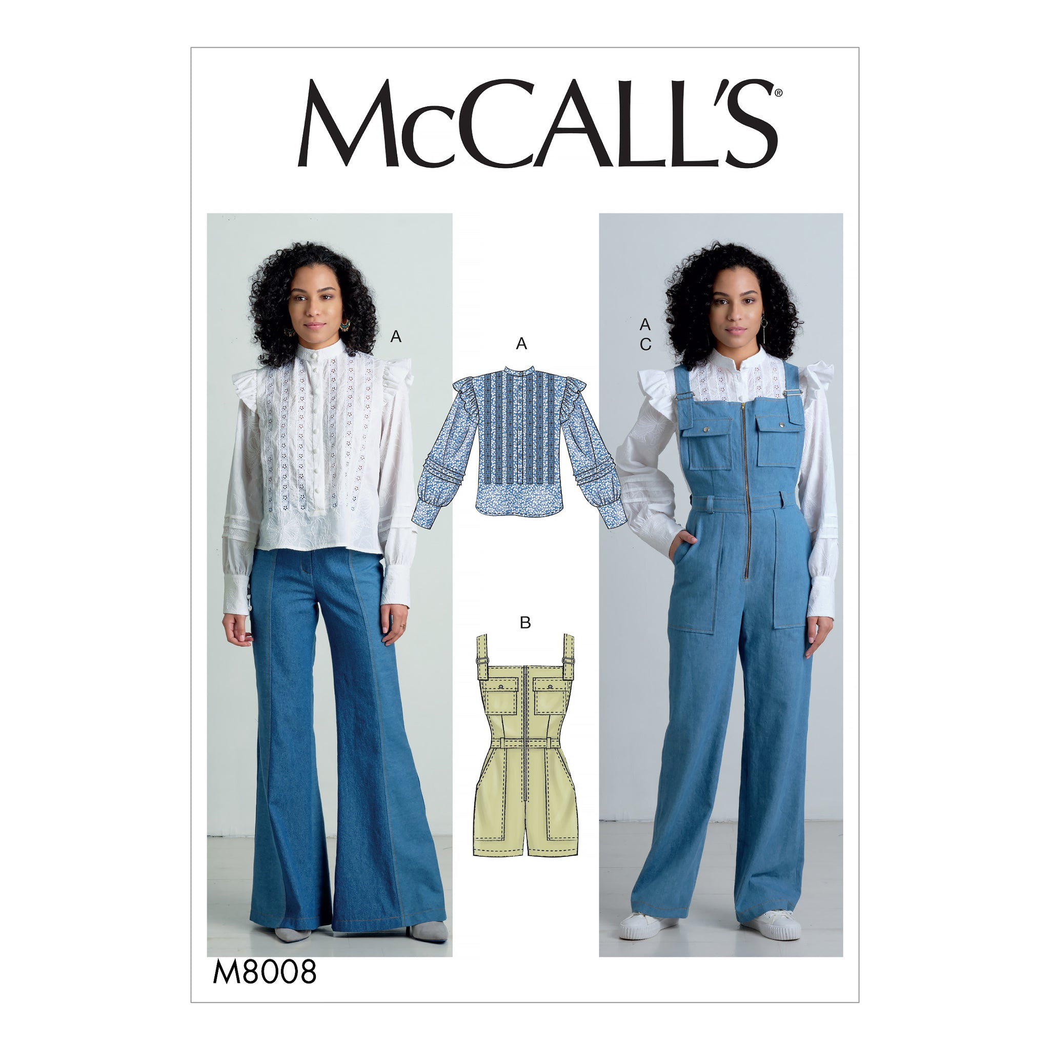 McCall's M8008E5 Misses' Top, Romper, and Overalls 14-16-18-20-22