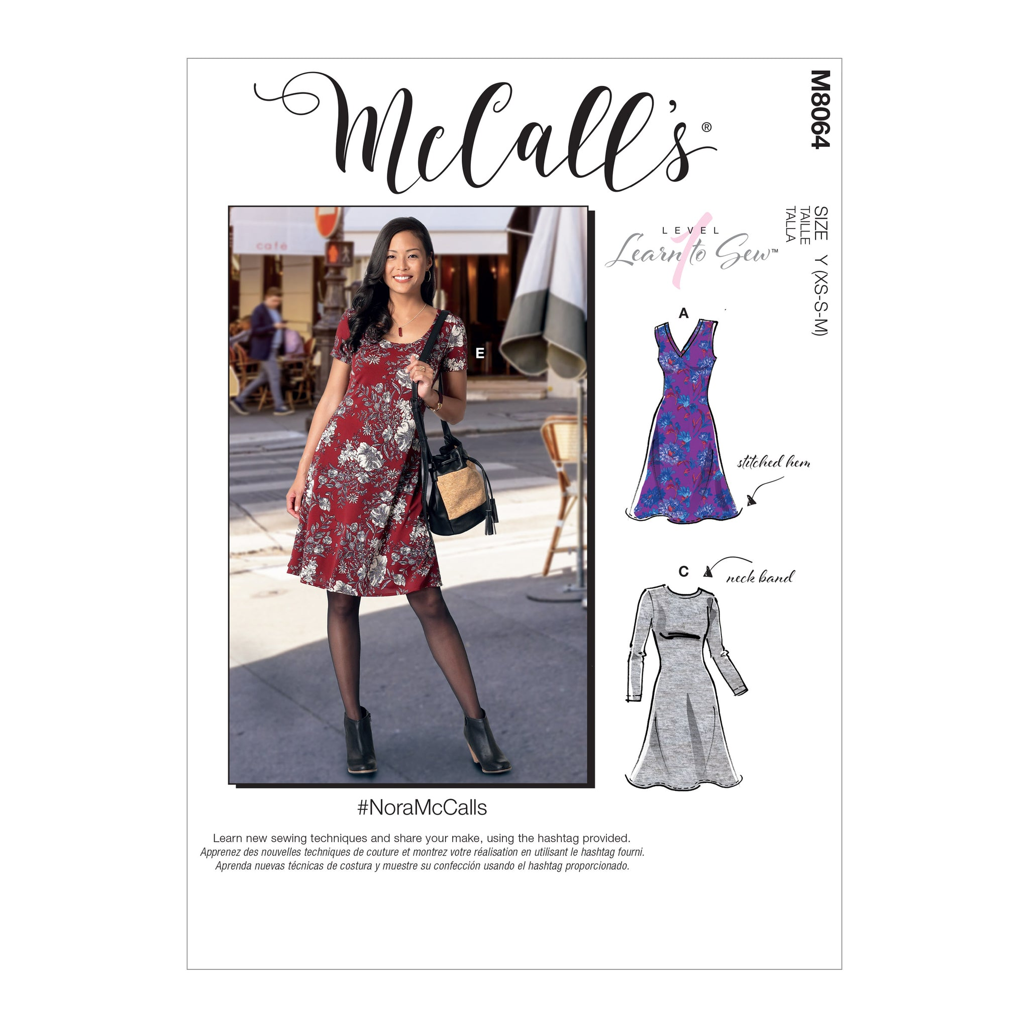 McCall's M8064ZZ #NoraMcCalls - Misses' Knit Dresses with V, Crew or Scoop Necklines L-XL-XXL