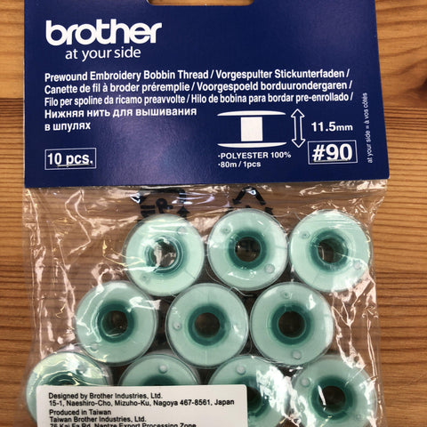 Brother Pre-Wound Bobbins 11.5mm PW90 Green for Sewing & Embroidery Machines Pack of 10 White Brother Bobbins - Fabric Mouse
