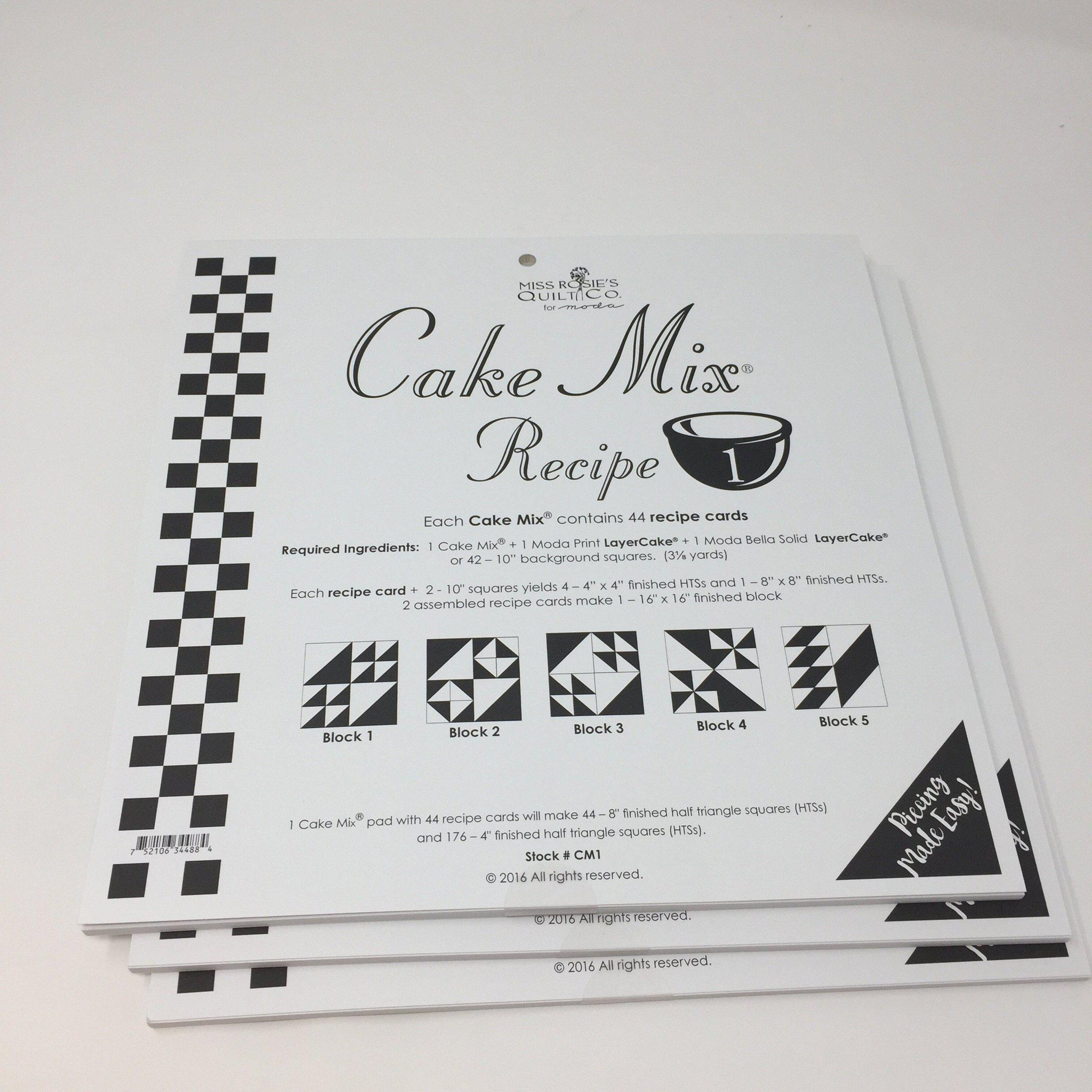 Cake Mix Recipe 1 by Moda- Each Recipe contains 44 Papers to make 88 Quilt Blocks Moda Cake Mix Recipe - Fabric Mouse