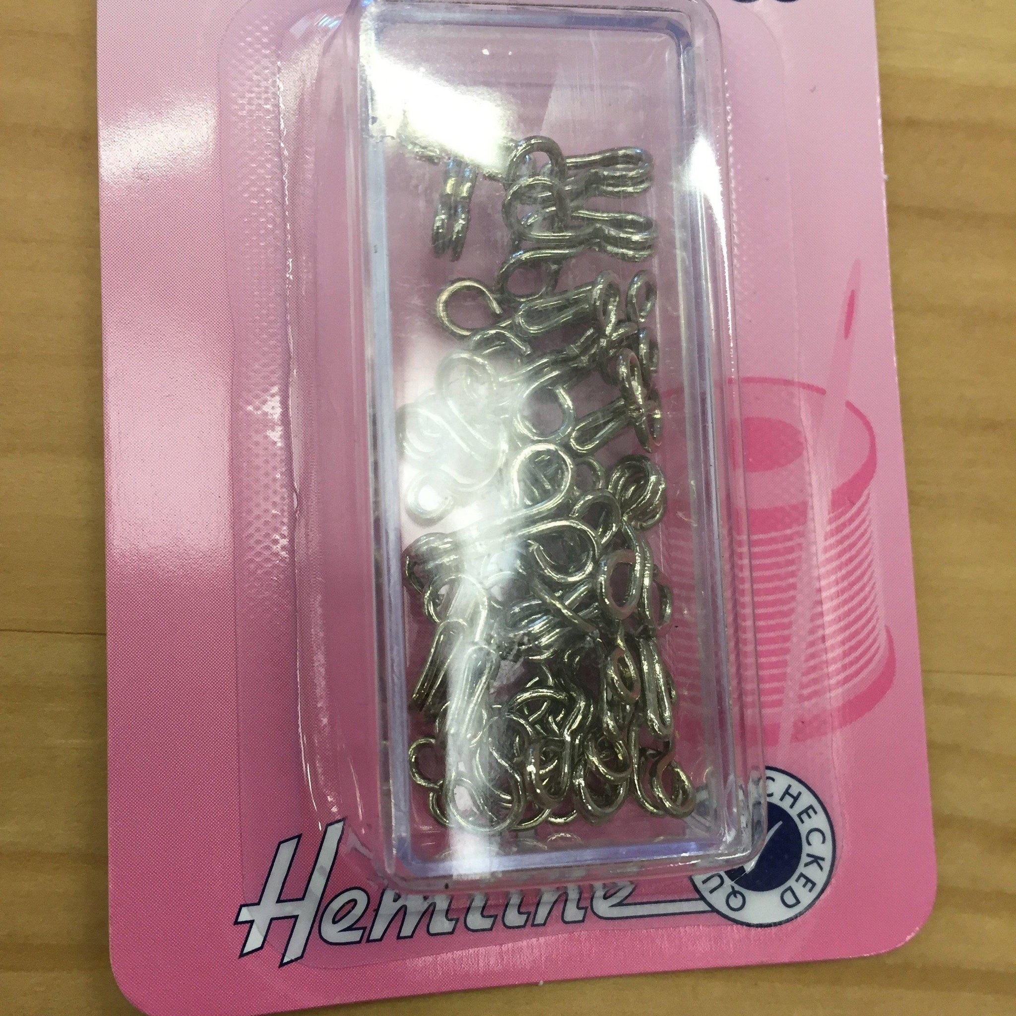 Hemline Hooks and Eyes size 3/14 sets silver-Sewing & Needlecrafts-fabricmouse-Fabric Mouse