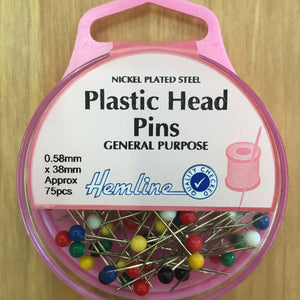 Hemline Plastic Head Pins H678-Pins & Needles-Hemline-Fabric Mouse