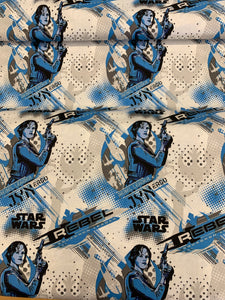 LFA07 Star Wars fabric Jyn blue white