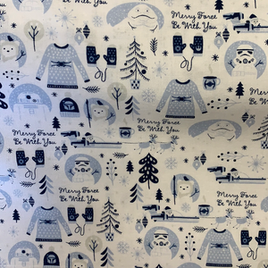 LFB30 Merry Force By With You  - Christmas Star Wars Fabric