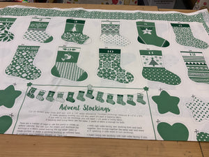 XP034 Green advent Stocking Bonding Christmas Panel Kate Spain for Moda