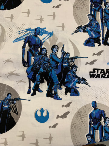 LFA08 Star Wars blue white fabric