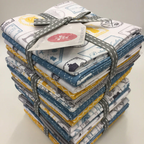 The Craft Cotton Co Sewing Bumble Bee White Fat Quarters (5 pieces)-Fat Quarter Bundles-Fabric Mouse-Fabric Mouse