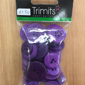 Trimits Craft Buttons Dark Purple-Fabric Mouse-Fabric Mouse