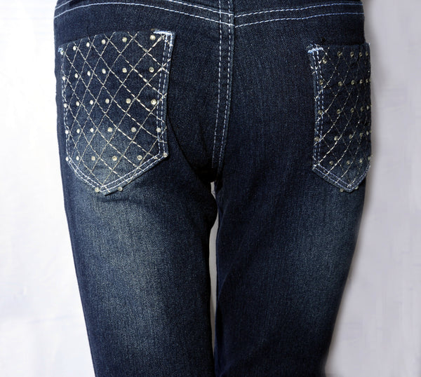 Stretch Denim Jeans with Quilted Bling Pockets