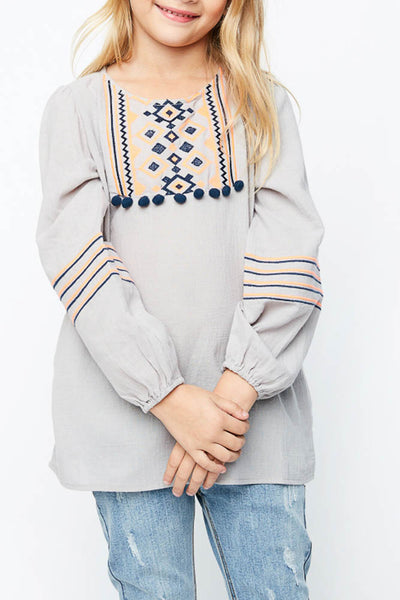 Embroidered Pom-Pom Top