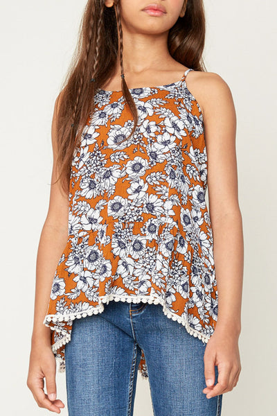 Floral Tank with Tassels