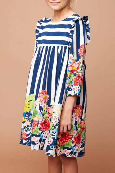 Long Sleeve Ruffle Shoulder Dress with Embroidered Yolk