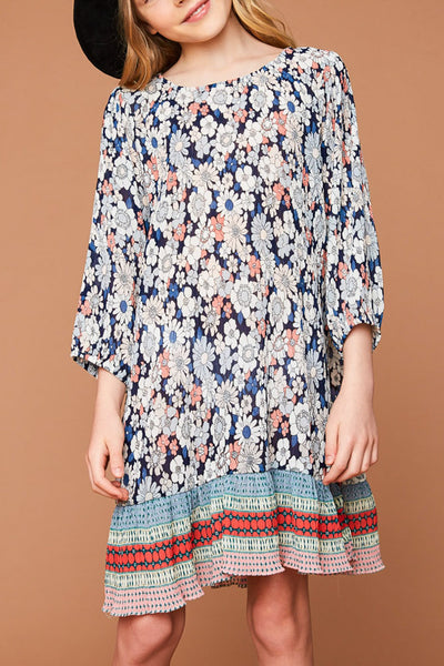 Pleated Print Dress
