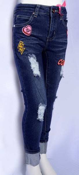 Distressed Roll-Up Patch Jeans