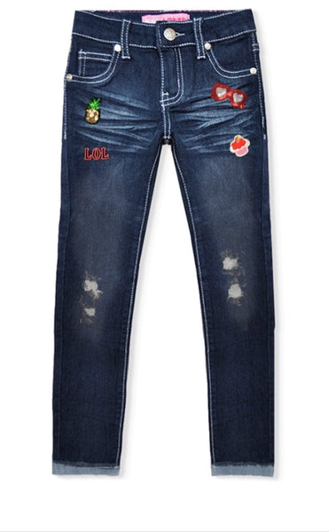 Distressed Skinny Patch Jeans