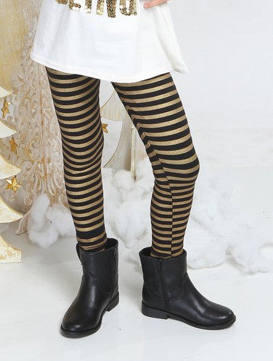 Haven Girl Black & Gold Stripe Leggings