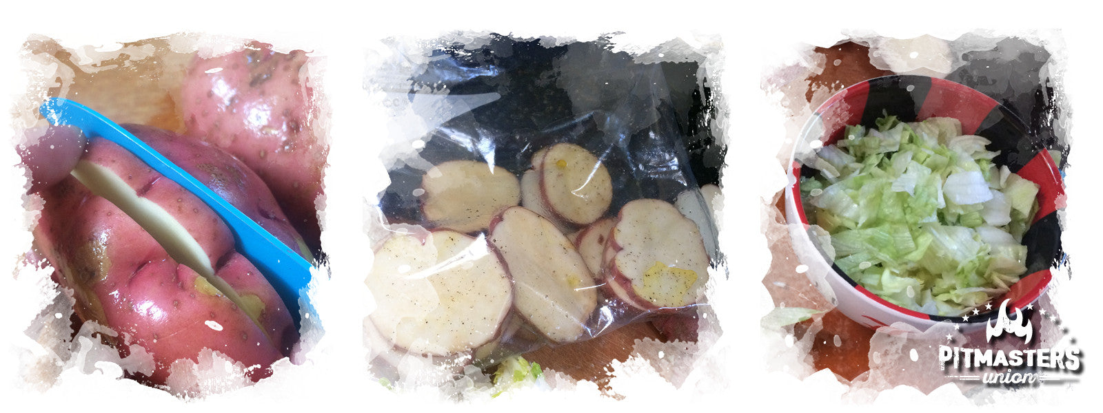 Preparation of the potatoes lettuce salad