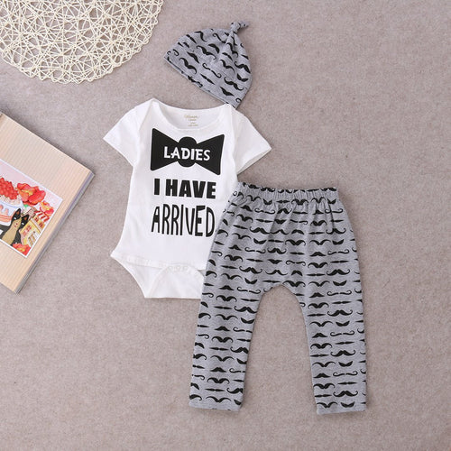 "UNISEX ""I HAVE ARRIVED"" PANTS + TOP SET  0-18M"