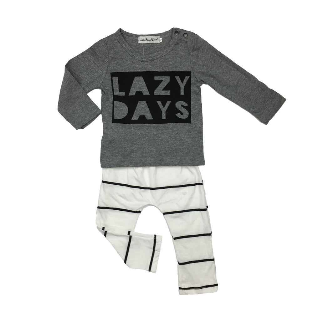 "BOYS ""LAZY DAYS""  PANTS + TOP SET  (0-24M)"