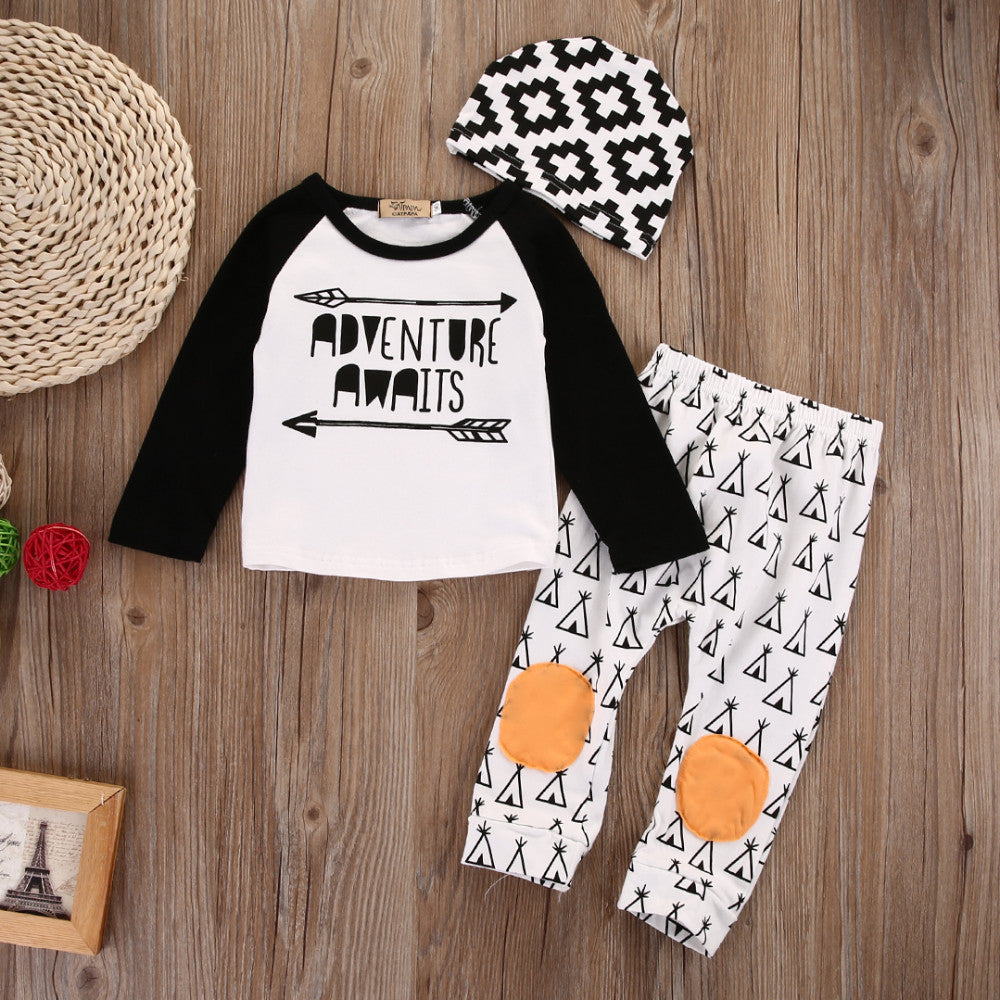 "BOYS ""ADVENTURE AWAIT"" PANTS + TOP SET (0-18M)"