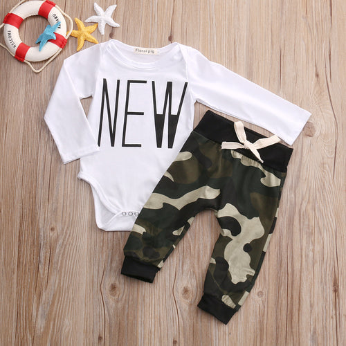 "BOYS ""NEW CAMOUFLAGE"" PANTS + TOP SET (0-18M)"