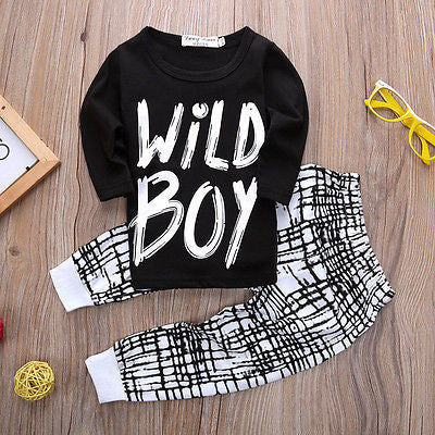 "BOYS ""WILD BOY"" PANTS + TOP SET  (0-24M)"