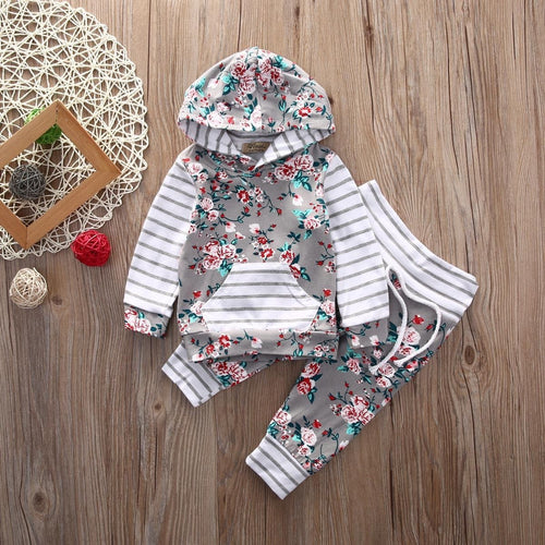 "GIRLS ""FLORAL"" PANTS + TOP SET  (0-18M)"
