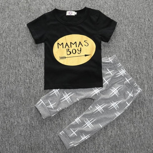 "BOYS ""MAMMAS BOY"" PANTS + TOP SET  (0-24M)"