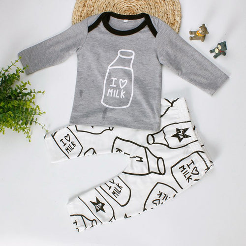 "BOYS ""I LOVE MILK"" TOP + PANT SET"