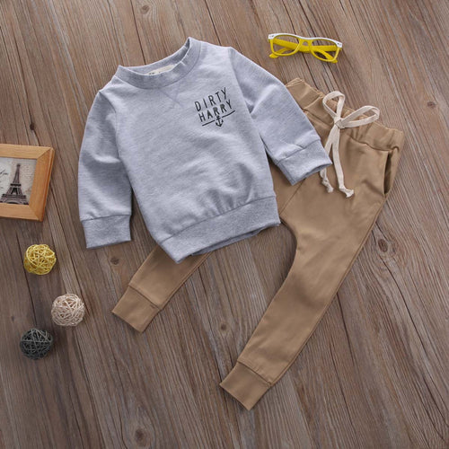 "BOYS ""DIRTY HARRY SCALLYWAG CREW"" PANTS + TOP SET  (0-24M)"