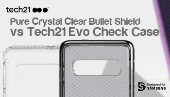 Tech21 Pure Crystal Clear Bullet Shield Case vs Tech21 Evo Check Case for Samsung Galaxy S10