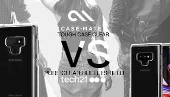 Casemate Tough Clear Case vs Tech21 Pure Clear Bulletshield Case for the galaxy Note 9
