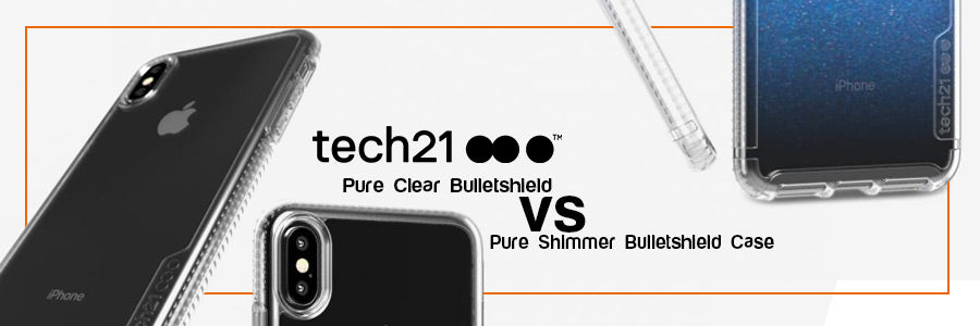 tech21 pure clear bulletshield vs tech 21 pure shimmer bulletshield case for iphone xs max