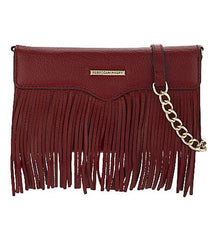 rebecca minkoff universal fringe tech leather crossbody deep red Australia