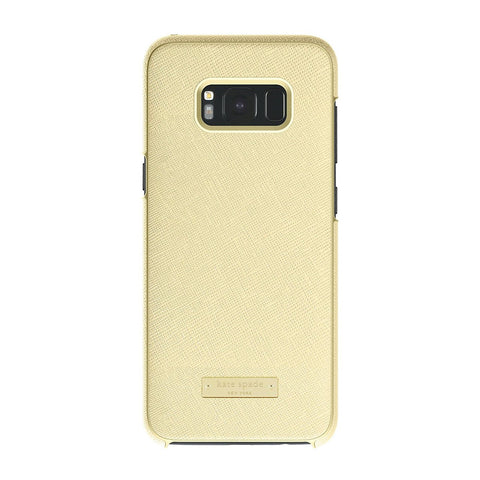 KATE SPADE NEW YORK WRAP PROTECTIVE CASE FOR GALAXY S8 - SAFFIANO GOLD / GOLD LOGO PLATE