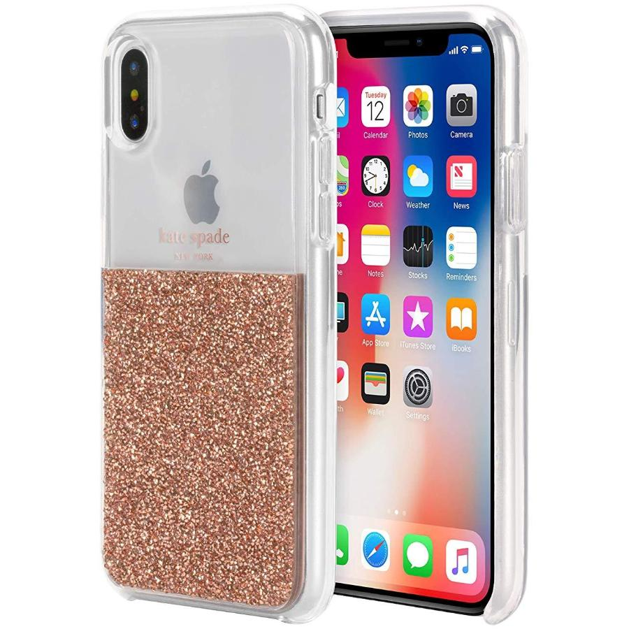 premium selection c1fac 2396a KATE SPADE NEW YORK HALF CLEAR CRYSTAL CASE FOR IPHONE XS MAX - ROSE GOLD