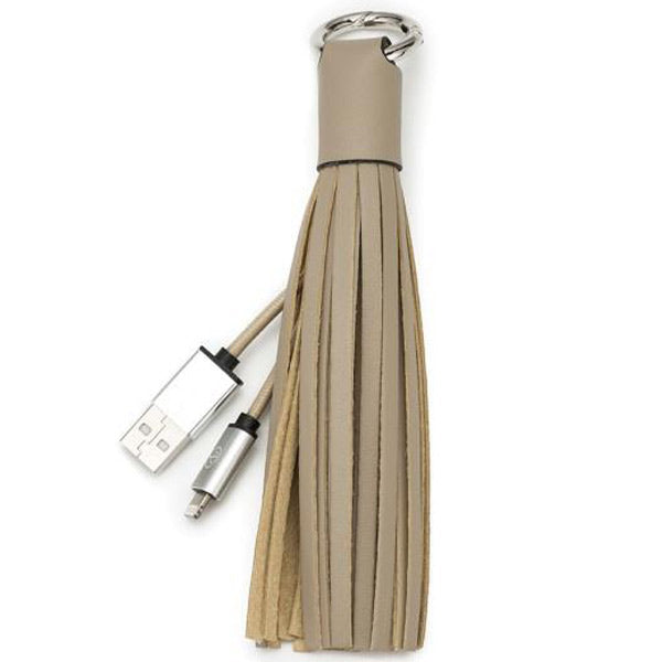 buy original Chic Buds Tassel Keyring Charm Cable with Lightning Connector - Taupe australia