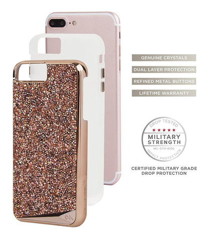 CASEMATE BRILLIANCE TOUGH GENUINE CRYSTAL CASE FOR iPHONE 8 PLUS/7 PLUS -ROSE GOLD