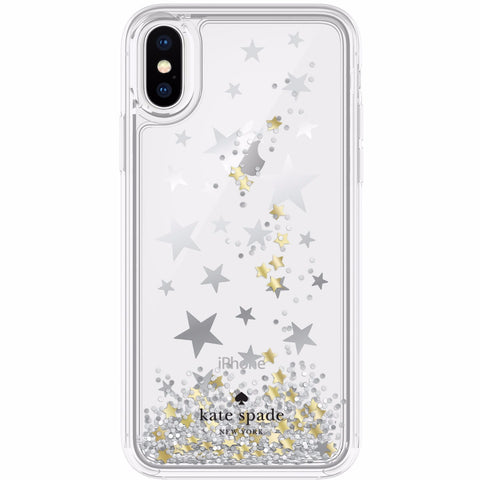 KATE SPADE NEW YORK LIQUID GLITTER CASE FOR IPHONE XS/X - STARS (SILVER /GOLD FOIL / STAR CONFETTI)